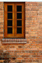 Wood Window and Red Bricks Wall Stock Photo