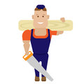 Wood worker illustration of on white background Royalty Free Stock Photo