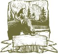 Woodcut moose design style illustration of a rough background Stock Photography