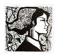 Woodcut print, portrait of longing for life and dream Royalty Free Stock Photo