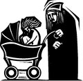 Woodcut style image old person pushing beautiful young woman baby carriage Stock Image