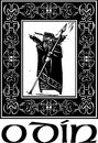 Woodcut style image of the viking god odin in a celtic border Stock Image