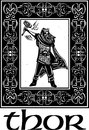 Woodcut style image of the viking god thor in a celtic border Stock Image