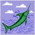 Woodcut swordfish