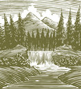 Woodcut waterfall wilderness style illustration of a in the Stock Image