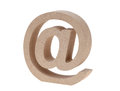 Wooded email symbol isolated on white background commercial at Royalty Free Stock Photo