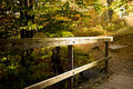 Wooded railing on path in the sunlight Royalty Free Stock Photo