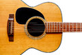 Wooden acoustic guitar isolated closeup Royalty Free Stock Photo