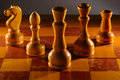 Wooden aged chess set Stock Image