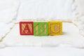 Wooden Alphabet Blocks on Quilt Spelling ABC Horizontal Royalty Free Stock Photo