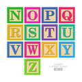Wooden alphabet blocks set Stock Images