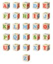 Wooden alphabet blocks set of a isolated on a white background Royalty Free Stock Images