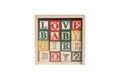 Wooden alphabet blocks,wooden toy cubes Royalty Free Stock Photo