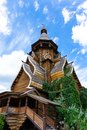 Wooden church - the sample of Russian wooden architecture Royalty Free Stock Photo