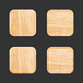 Wooden app icon template set vector Royalty Free Stock Images