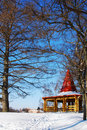 Wooden arbor in park in the winter Royalty Free Stock Image