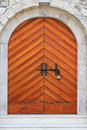 Wooden arch door castle budva montenegro Stock Images