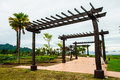 Wooden arch the in the garden top of the reclamation field mah moh mine thailand Royalty Free Stock Photos