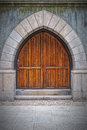 Wooden arched doors from the town hall building in helsingborg sweden Stock Photos