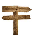 Wooden arrow sign post or road signpost board old panel made from wood isolated Royalty Free Stock Photo