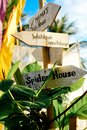 Wooden arrows signboards on the beach resort. Spider House. Wahine beach bar