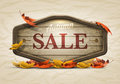 Wooden autumn sale signboard vector realistic illustration of elements are layered separately in vector file Royalty Free Stock Photography
