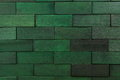 Wooden background bricks green wall Stock Photo