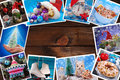 Wooden background with christmas images collection lying around Royalty Free Stock Photo
