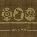 Wooden background with easter eggs vector illustration Stock Photo