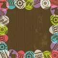 Wooden background with frame of easter eggs vector Stock Photography