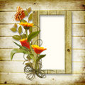 Wooden background with a frame for a photo and a b Stock Images