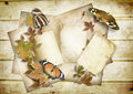 Wooden background with old card and butterflies Royalty Free Stock Photo