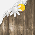 Wooden background with pattern and flowers Royalty Free Stock Image