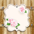 Wooden background with roses romantic floral frame valentines day pink on Stock Image