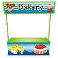 A wooden bakery stall illustration of on white background Stock Image
