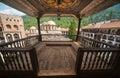 Wooden balcony in the Rila Monastery in Bulgaria Royalty Free Stock Photo