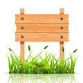 Wooden banner vector illustration of and grass spring concept Stock Photography