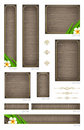 Wooden banners with tropical flowers backgrounds and decorative elements set of standard web Stock Photos