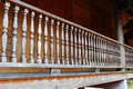 Wooden bannister of the balcony old terrace Royalty Free Stock Photos