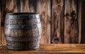 Wooden barel. Old wooden keg. Barel on beer vine whiskey brandy rum or cognac Royalty Free Stock Photo