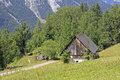 Wooden barn in the austrian alps Royalty Free Stock Photo