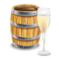 Wooden barre; and wine glass Stock Images