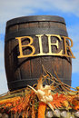 Wooden barrel of beer at Oktoberfest in Germany