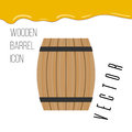 Wooden barrel icon with honey drops