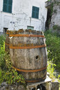 Wooden barrel in a little village in la spezia Royalty Free Stock Photos