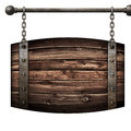 Wooden barrel medieval signboard hanging on chains isolated 3d illustration Royalty Free Stock Photo