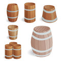 Wooden barrel vintage old style oak storage container and brown retro liquid beverage object fermenting