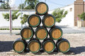 Wooden barrels for wine Royalty Free Stock Image