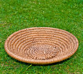 Wooden Basket on grass Stock Photo