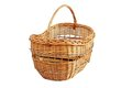 Wooden basket over white traditional handmade trellis isolated background Stock Image